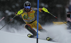 Julien Cousineau competes in the men's slalom in Beaver Creek, USA.