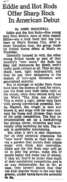 11-13-77 NYT REview - Eddie and Hot Rods @ Max's