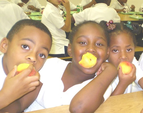 "Chicago Public School students enjoying fresh peaches with ""furry skin."""