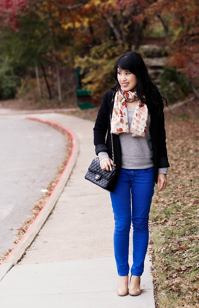 urban outfitters silence noise boyfriend blazer, banana republic grey sweater, asos cobalt blue pants, target mossimo pearce camel patent pumps, chanel quilted m/l flap purse, h&m pink leaves scarf