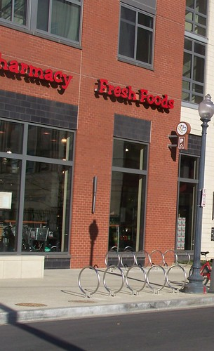 Stainless steel bicycle racks at the Harris Teeter, 1st and M Streets NE,