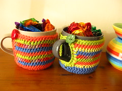 Stripy mug covers