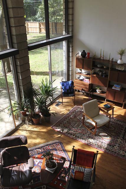 Modern Walnut Living Room Furniture: View From Catwalk Of Vintage Walnut Wall