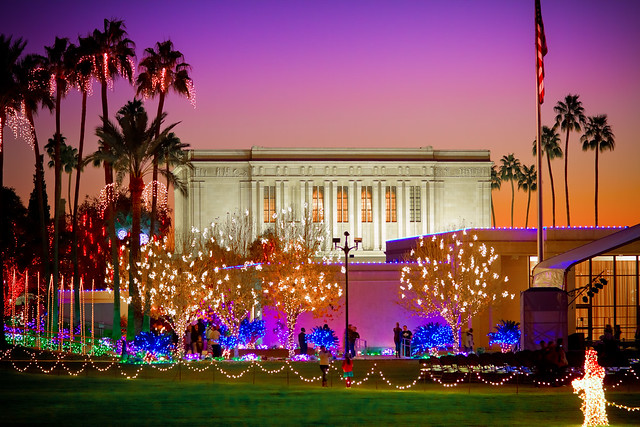 Arizona Temple Christmas Lights after a wedding photo session tonight