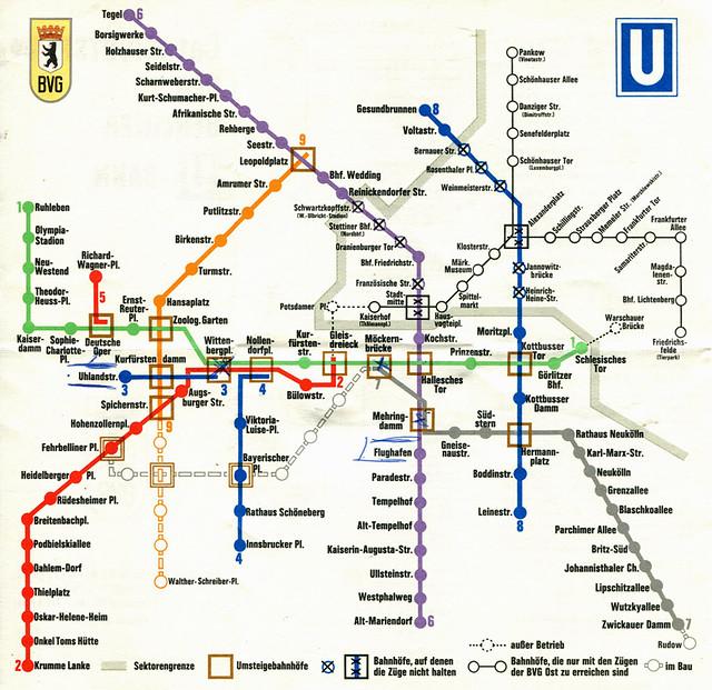 Berlin - U-Bahn / Subway Map (1970)