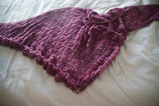 This is what the shawl looks like with the blocking wires in place but before pinning out.
