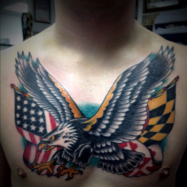 Chest Eagle Tattoo With American And Maryland Flags