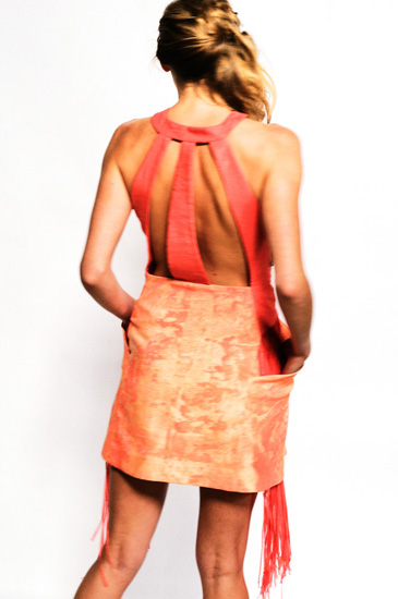 Couture Studio Shoot, Orange Fashion, screen printed dress; shot on White Background. Photography by Kent Johnson