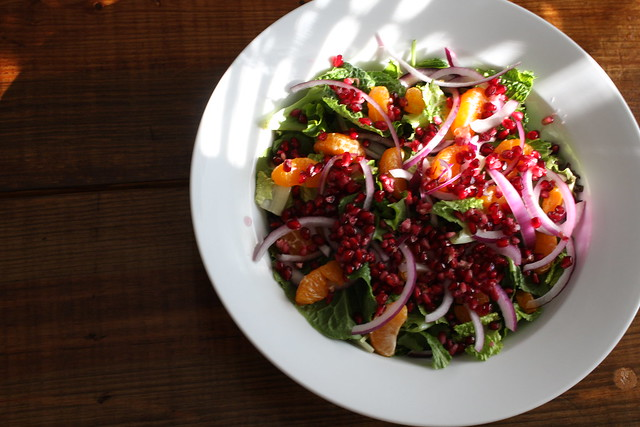satsuma, red onion and pomegranate salad