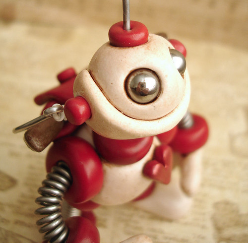 Brian the Bot | Valentine Cupid |  Mini Robot Sculpture  by HerArtSheLoves