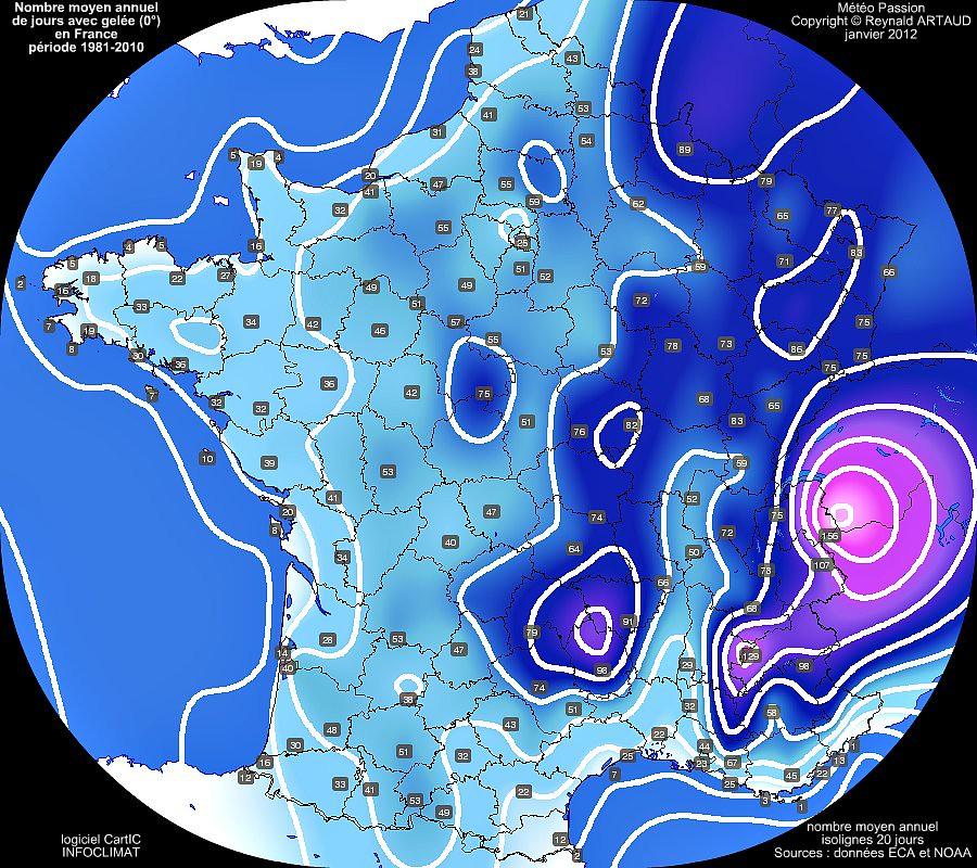 nombre moyen annuel de jours avec gelée 0° en France pour la période 1981-2010