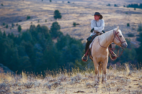 Cowgirl and horse on ranch in winter