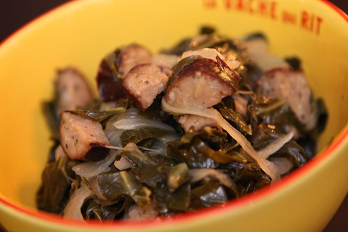 Collard Greens with Smoky Kielbasa