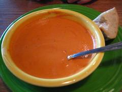 vegetable(0.0), produce(0.0), tomato soup(1.0), bisque(1.0), food(1.0), dish(1.0), soup(1.0), cuisine(1.0),