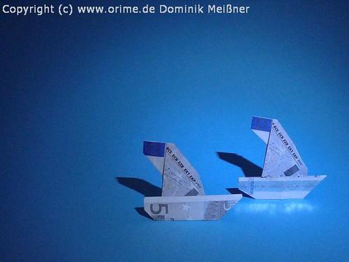 Origami Geld Segelschiff