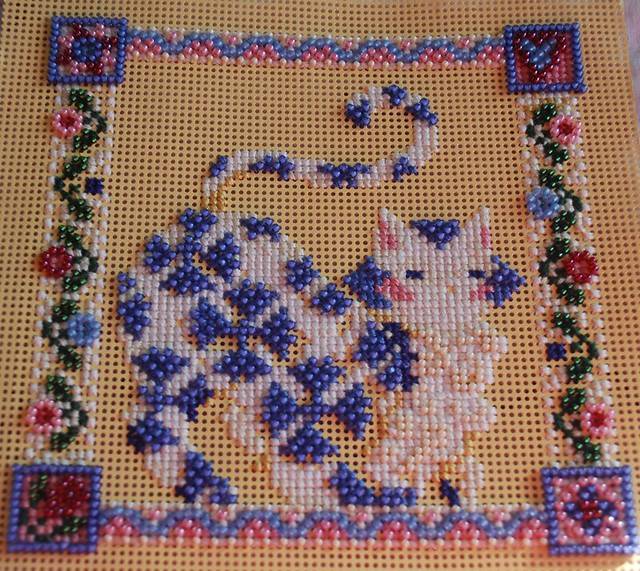 kitty cross stich - almost done