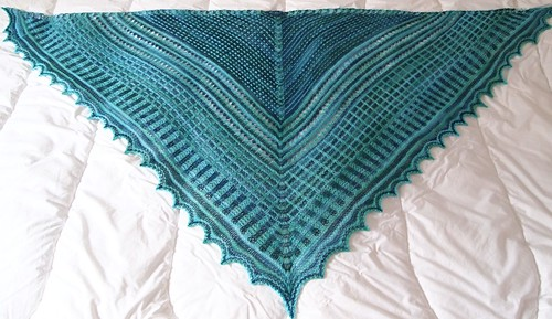 test knit- Coastal Waters shawl