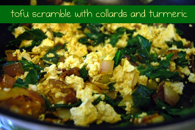 scrambled tofu with collards and turmeric.