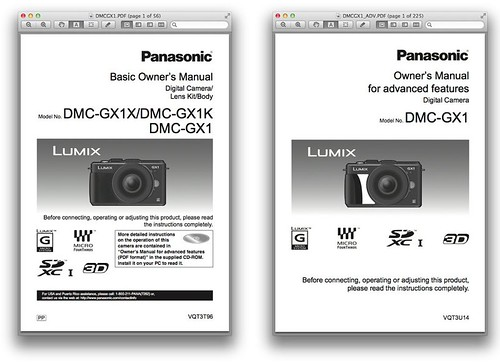 Panasonic GX1 -- Basic and Advanced Manuals