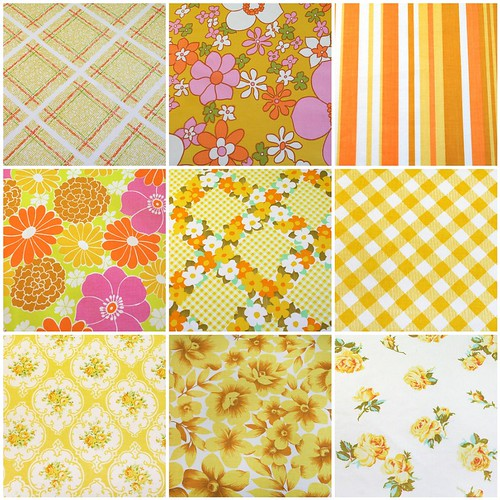 yellows, oranges, pinks - vintage sheets