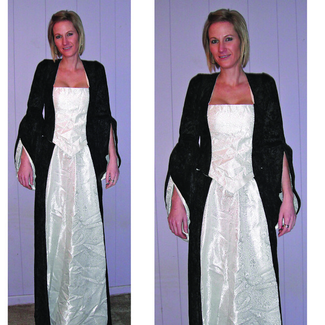 Victorian Gothic Wedding Dress Black Velvet and white wedding fabric