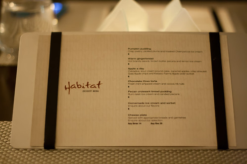Dessert Menu at Habitat