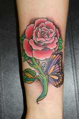 Single Rose and Butterfly Tattoo