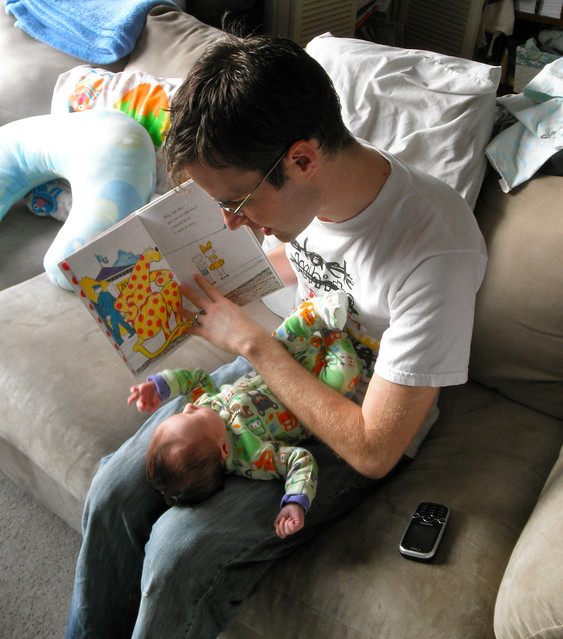 Daddy reads to Eloise
