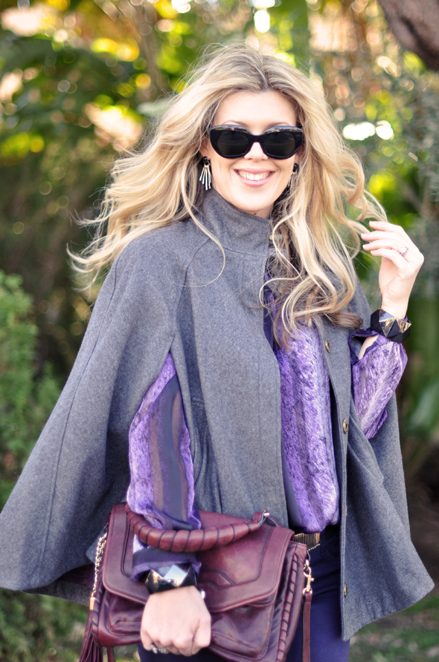 cape-purple jeans   and blouse-vintage sunglasses-diy safety pin belt