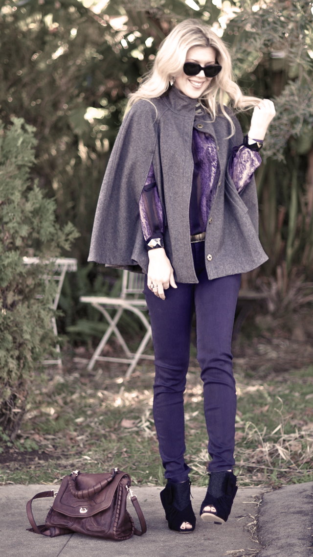 purple jeans- vintage  purple blouse -cape-miu miu