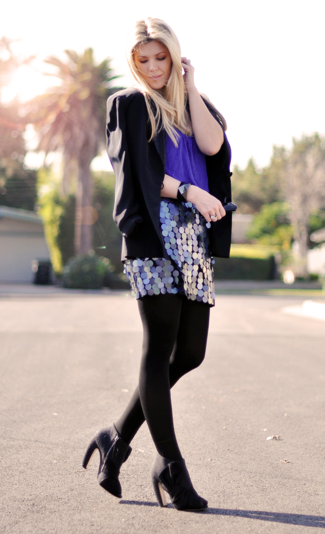 Paillette-embellished skirt -blazer
