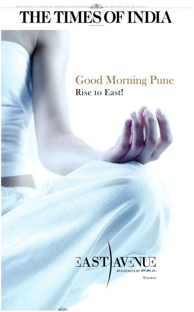 PRA East Avenue 1.5 BHK 2 BHK 3 BHK Flats at Wagholi Pune 412 207 - Launch Ad - Published on 31-1-2012 - 1