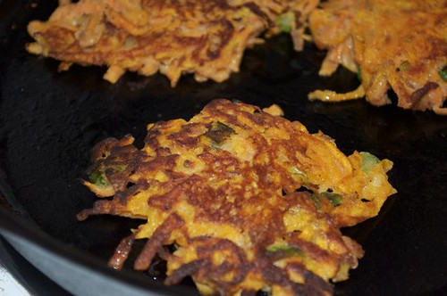 sweet potato fritters turned