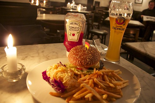 Schöneburger with fries and coleslaw, along with my beer.