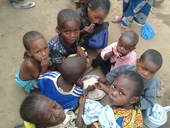 Child refugees from Central African Republic in Cameroon's eastern border town of Garoua-Boula share a plate of rice in an early morning. Credit: Monde Kingsley Nfor/IPS