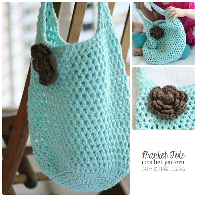Crochet Net Bag Pattern Free : Free Market Tote Crochet Pattern - Daisy Cottage Designs