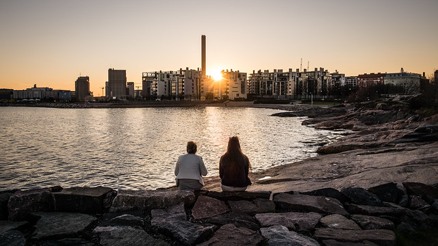Looking at sunset - Helsinki, Finland - Color street photography