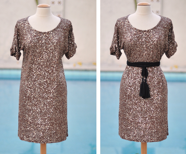 sequined knee length dress-taupe sequin dress