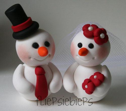 Snowman Couple Cake Topper