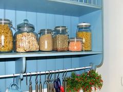 shelf, mason jar, canning,
