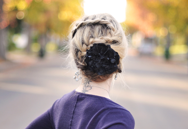 french braid updo with flower