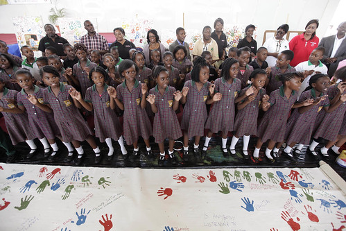 School children perform during a rally in Lusaka, Zambia