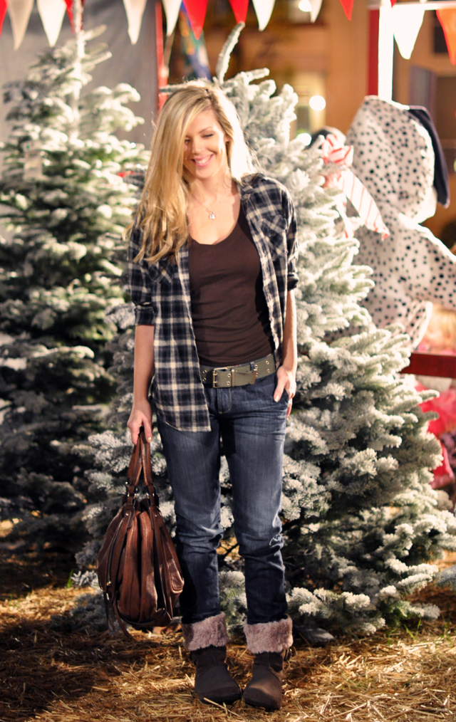 Christmas Tree Lot outfit- croc boots-flannel shirt