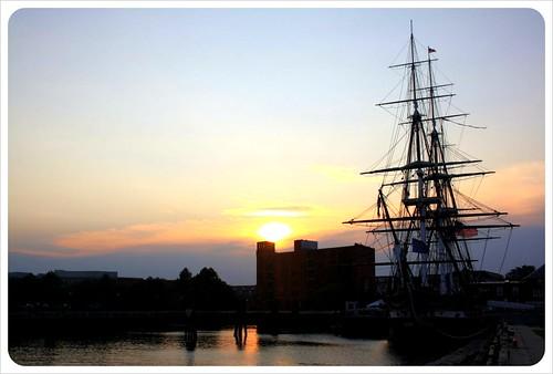 boston uss constitution sunset