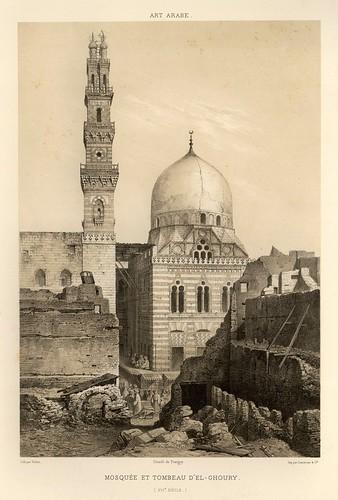 002-Mezquita y tumba de El-Ghoury siglo XVI-L'art arabe d'apres les monuments du Kaire…Vol 1-1877- Achille Prisse d'Avennes y otros