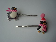 Set of Pink Penguin Bobby Pins