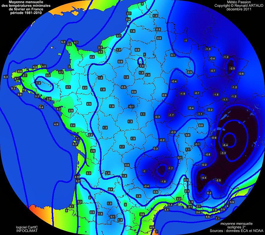 Moyennes mensuelles des températures minimales pour le mois de février en France sur la période 1981-2010