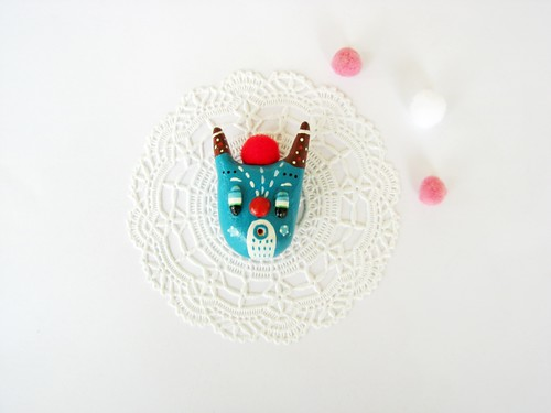 air drying clay Magic Creature  (brooch or magnet??) by Pinkrain Indie Design