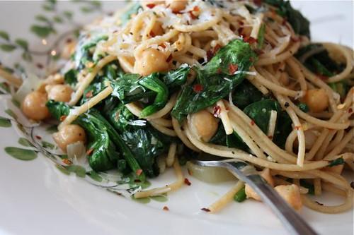 Spaghetti with Chickpeas Spinach - recipe - 2