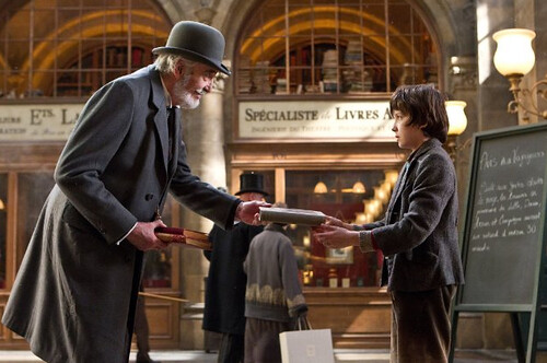Christopher Lee and Asa Butterfield in Hugo
